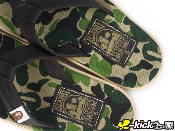 A Bathing Ape × Island Slipper 绿迷彩女款